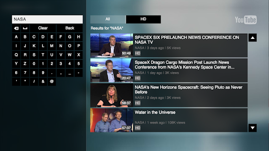 YouTube for Google TV- screenshot thumbnail