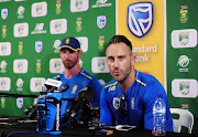SA captain Faf du Plessis (R) speaks to the media after a Test match defeat to England on January 7 2020 in Cape Town. Alongside him is debutant Pieter Malan.