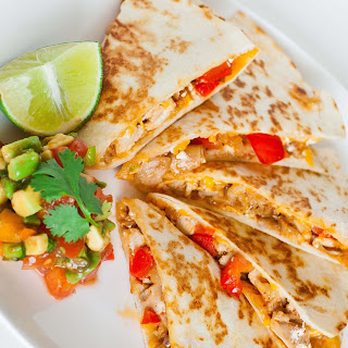 Pepper and Chicken Quesadillas.