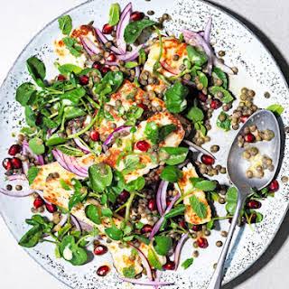 Lemony Lentil Salad With Griddled Halloumi.