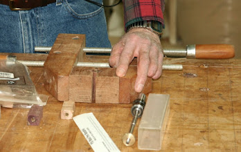 Photo: The key ingredients are pen kits, a drill press and a clamp to hold the blanks, a mandrel for holding the parts on the lathe for turning...