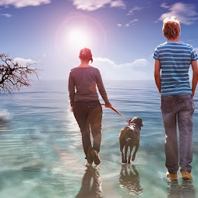 Journey by Glory Reaglobe - Digital Art People ( walking, tree, sea, ocean, dog, people, sun )
