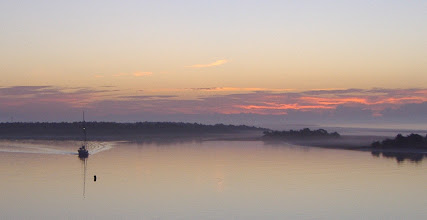 Photo: A ship coming out of Beaufort harbor adds to the sunrise fog composition...