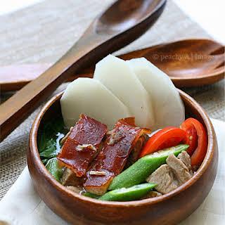 Sinigang na Lechon/Roasted Pork in Tamarind Soup.