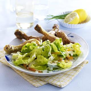 Roast Chicken Drumsticks with Salad.
