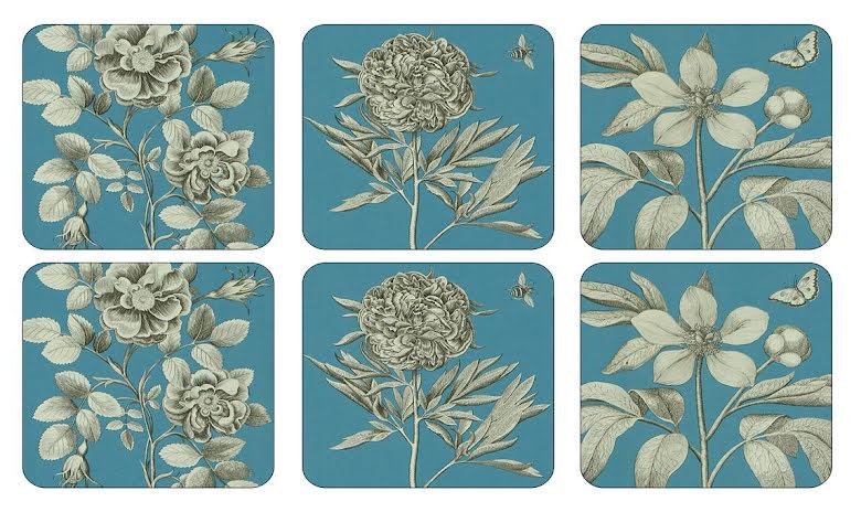 Etchings & Roses Blue Glasunderlägg 6-pack