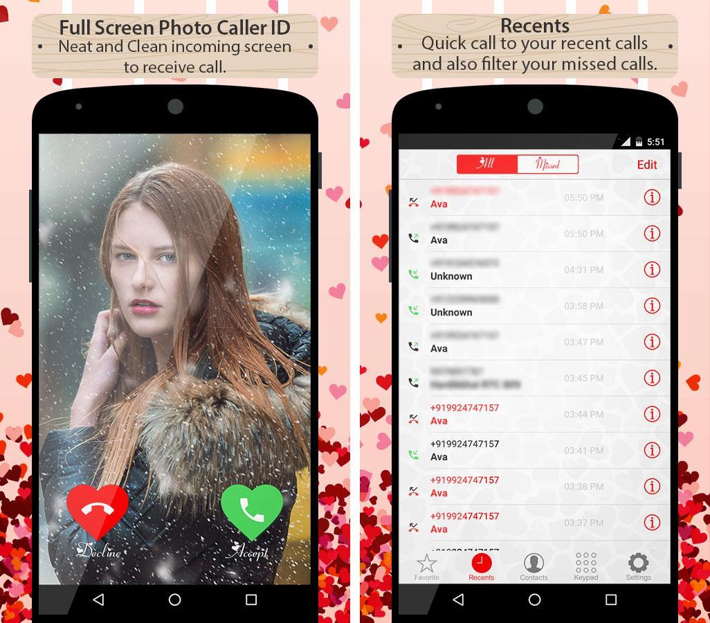 Gmail love theme - Love Callerscreen Dialer Theme Screenshot