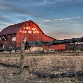 Country Market by Frank Kruller - Landscapes Prairies, Meadows & Fields ( farm, fence, market, barn )