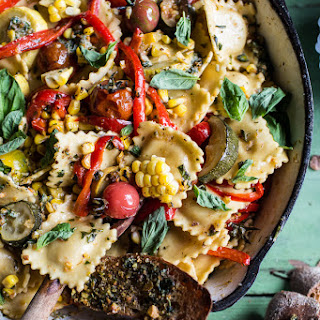 Garden Veggie and Ravioli Skillet with Pistachio Herb Butter.