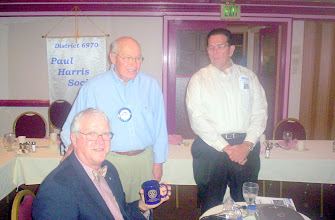 Photo: Morgan Gilreath showing off his  4-Way-Test Coffee Mug with Blaine and Joe 
