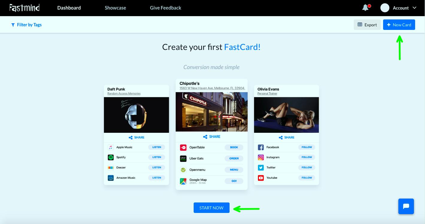 1 step create fastcard