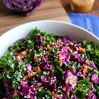 Asian Kale Slaw with Miso Ginger Dressing