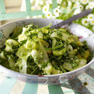 Summer Squash and Arugula with Broccoli Pesto