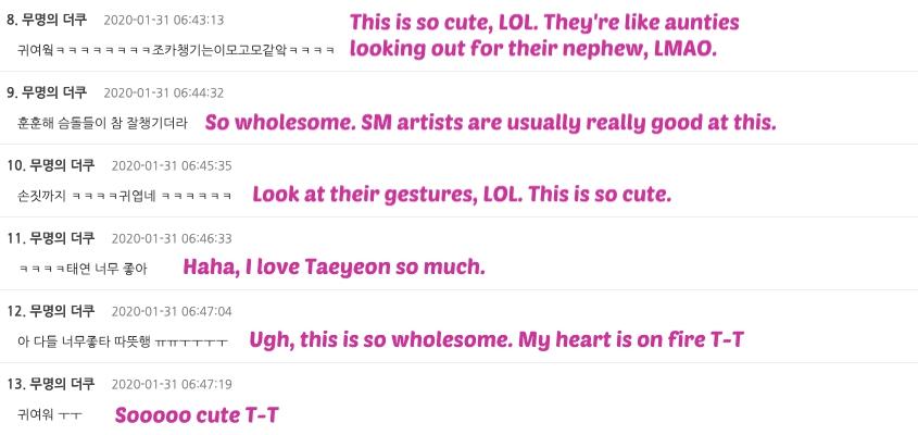 taeyeon eunhyuk comments