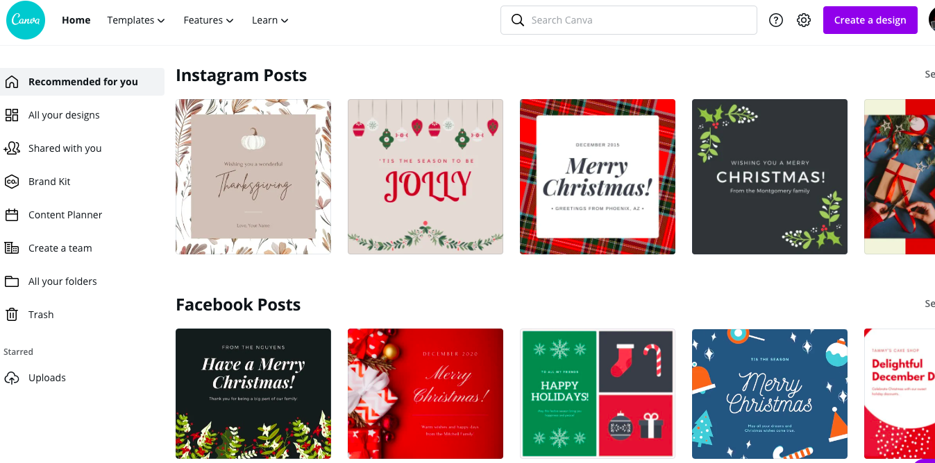 Canva's Homepage With Instagram Post Templates