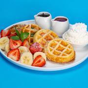 Strawberry Banana Mochi Waffles
