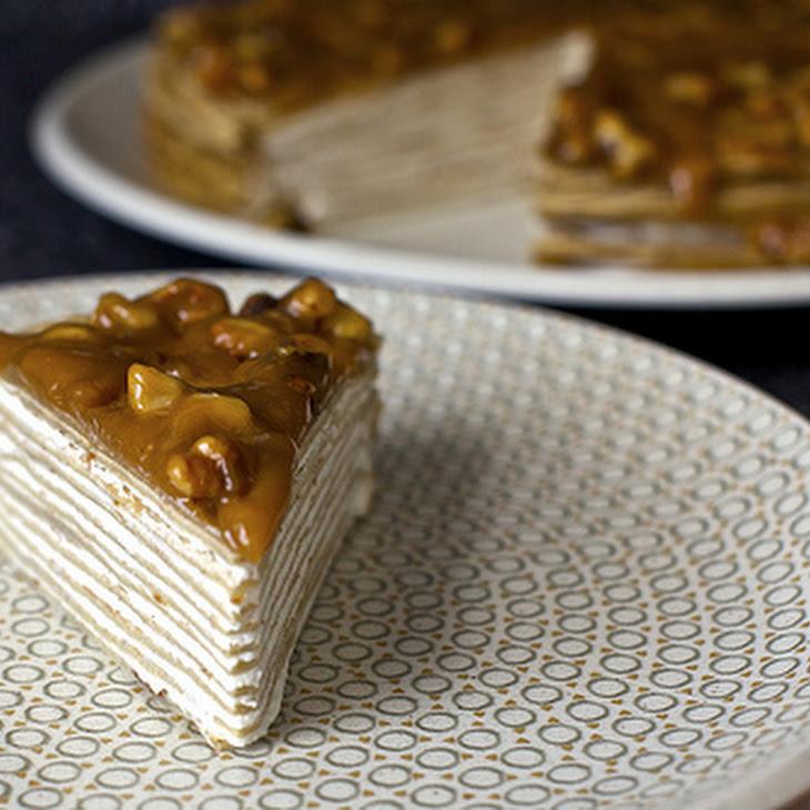 Banana Crepe Cake with Yogurt and Walnut Butterscotch Recipe