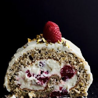 Pistachio Roulade with Raspberries and White Chocolate.