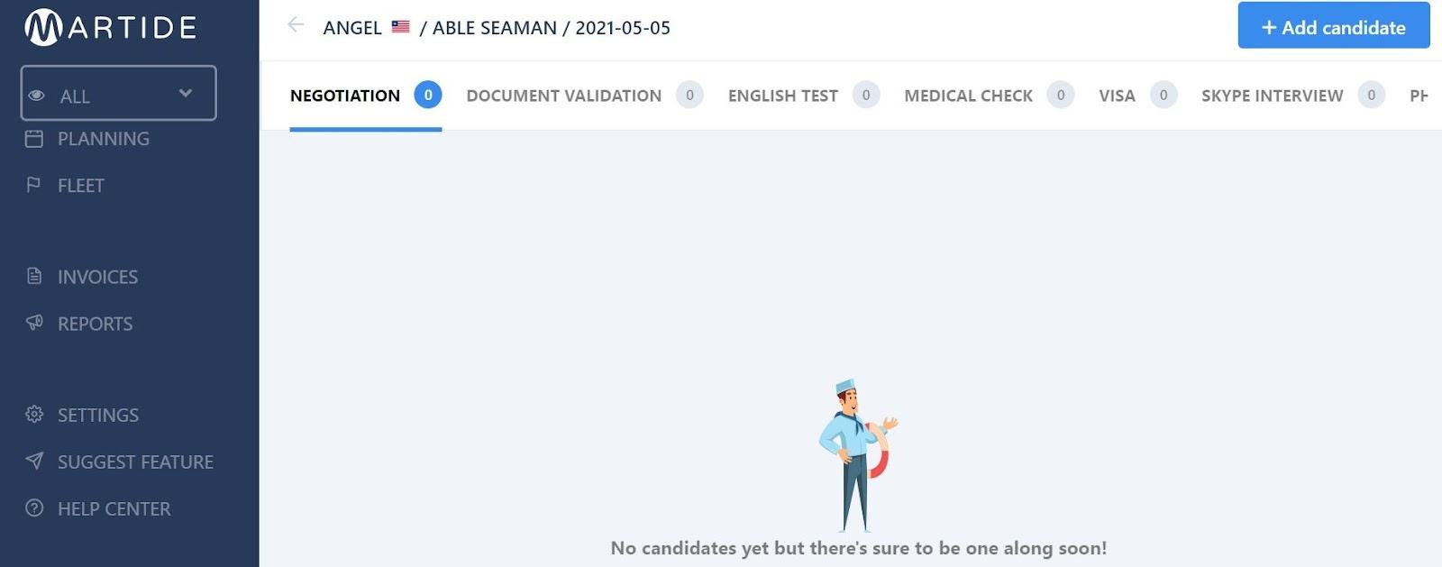 screenshot of a new job page