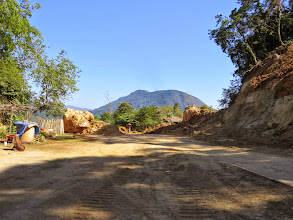 Photo: Our return was delayed by road repairs for a rock slide from the rainy season.