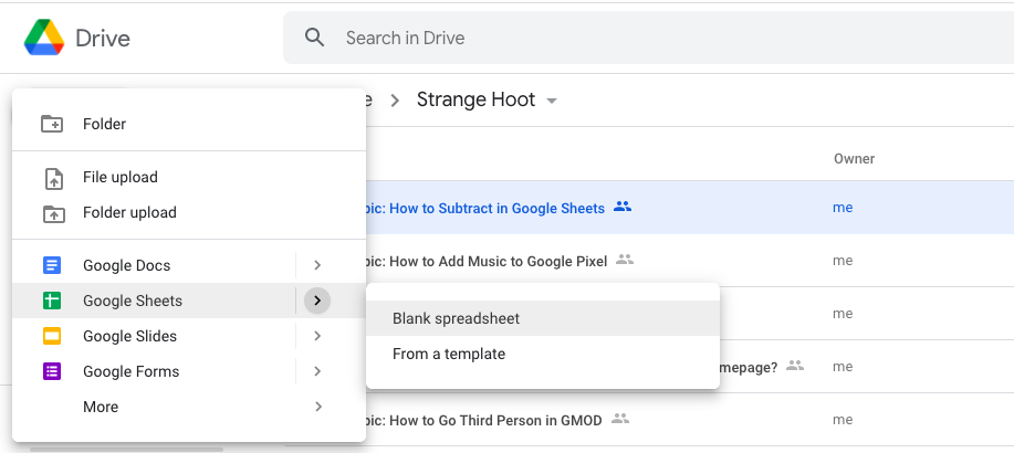 Google Sheets, Blank Spreadsheet