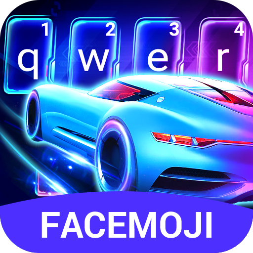 Neon Racing Car 3D Keyboard Theme for PC