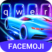 Neon Racing Car 3D Keyboard Theme