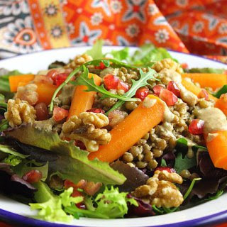 Lentil and Roasted Carrot Salad with Oil Free Walnut Vinaigrette
