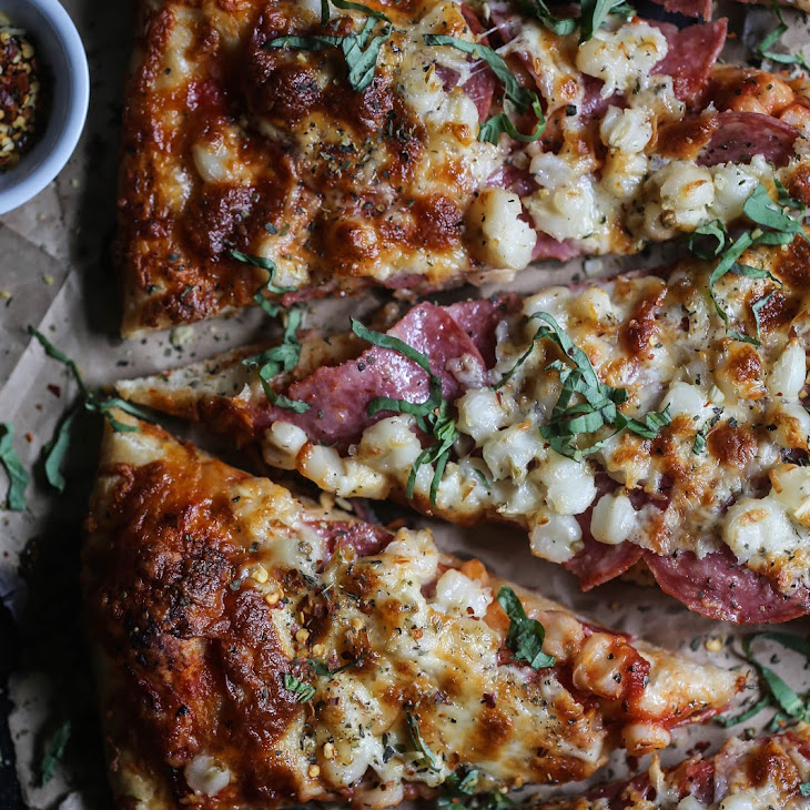 Salami, Hominy, & Smoked Mozzarella Pizza Recipe