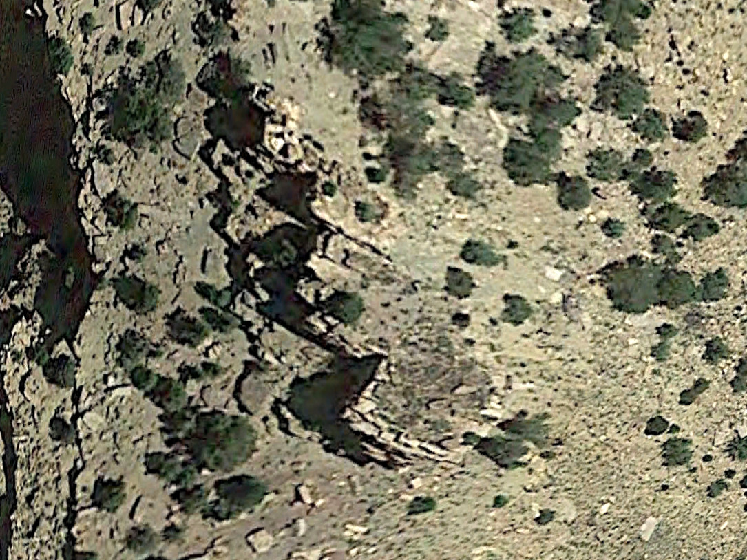 Photo: Satellite image showing a faint circle of rocks