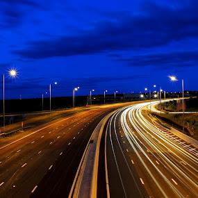 by Jade Newman - City,  Street & Park  Vistas ( highway, light trails, motorway, street lights )