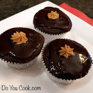Chocolate Cupcakes with Peanut Butter Filling.