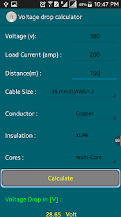 Voltage drop cable size calc android apps on google play voltage drop cable size calc screenshot thumbnail greentooth Gallery