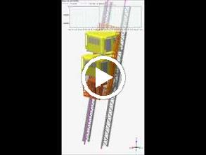 Video: Cabine Tour Eiffel : Simulation dynamique avec VN4D d'analyse des efforts générés sur la voie de roulement de l'ascenseur Ouest de La Tour Eiffel lors d'une prise parachute en cas de rupture de la suspension