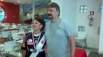 Photo: Lúcia Vieira (5.ª no All Events 1.ª divisão feminina, média 184,10) com Décio Abreu