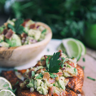 Baked Salmon with Bacon-Avocado Salsa Recipe
