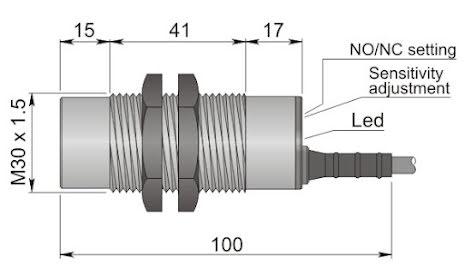 Kapacitiv givare M30, 2-tråds, 20-250VA
