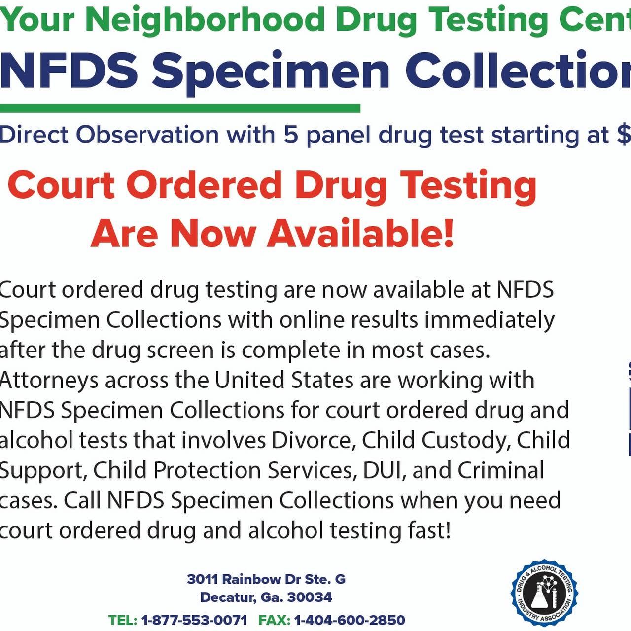 NFDS SPECIMEN COLLECT - Quest Diagnostics, LabCorp, Escreen, Court