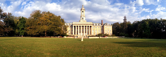 Photo: A panoramic view of Old Main sparkling in the brilliant morning sun of Sept. 21, the final day of summer 2012, as traces of autumn's arrival begin to emerge on the Penn State's University Park campus.