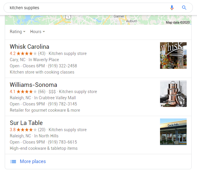 Business ranking by Review score - (c) Google Maps
