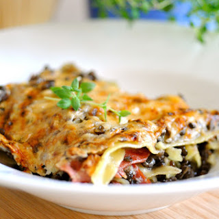Lasagna with Lentils, Bacon and Cauliflower Béchamel Sauce