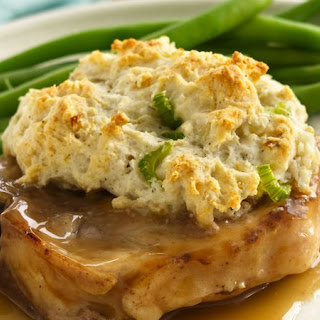 Gravy Pork Chops with Stuffing Biscuits.
