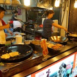 oyster omelettes at the Shilin night market in Taipei in Taipei, T'ai-pei county, Taiwan