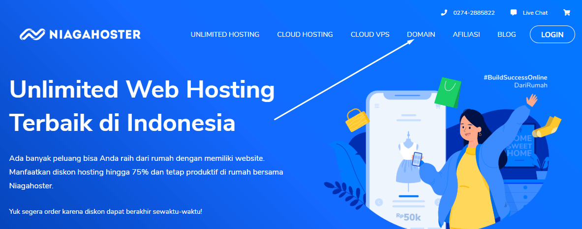 Menu domain di halaman utama website Niagahoster
