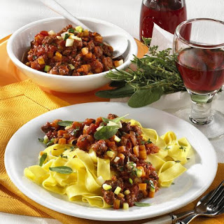 Tuscan Bolognese with Pappardelle.