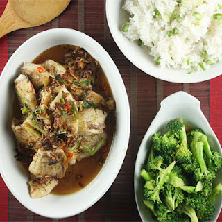 Vietnamese Sweet and Spicy Fish with Jasmine Rice and Soy Broccoli.