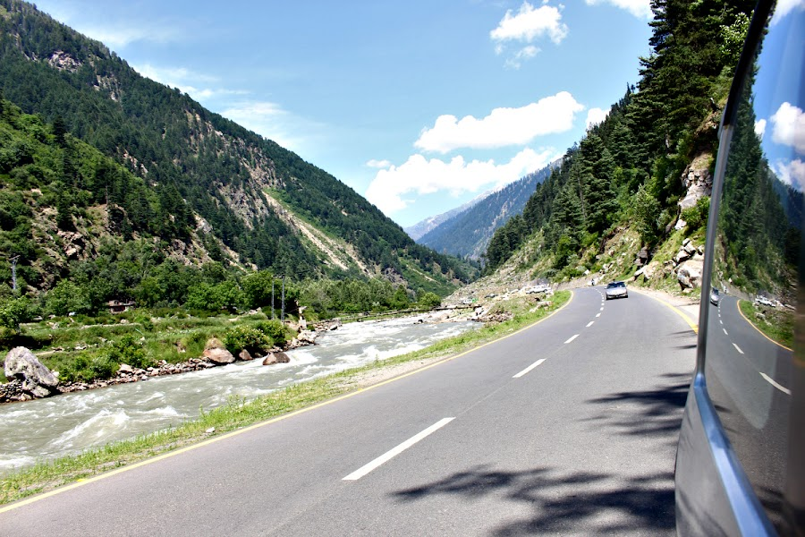 Road to Naran, Pakistan by Waqas Kamran - Transportation Roads ( clouds, reflection, mountains, road, river )