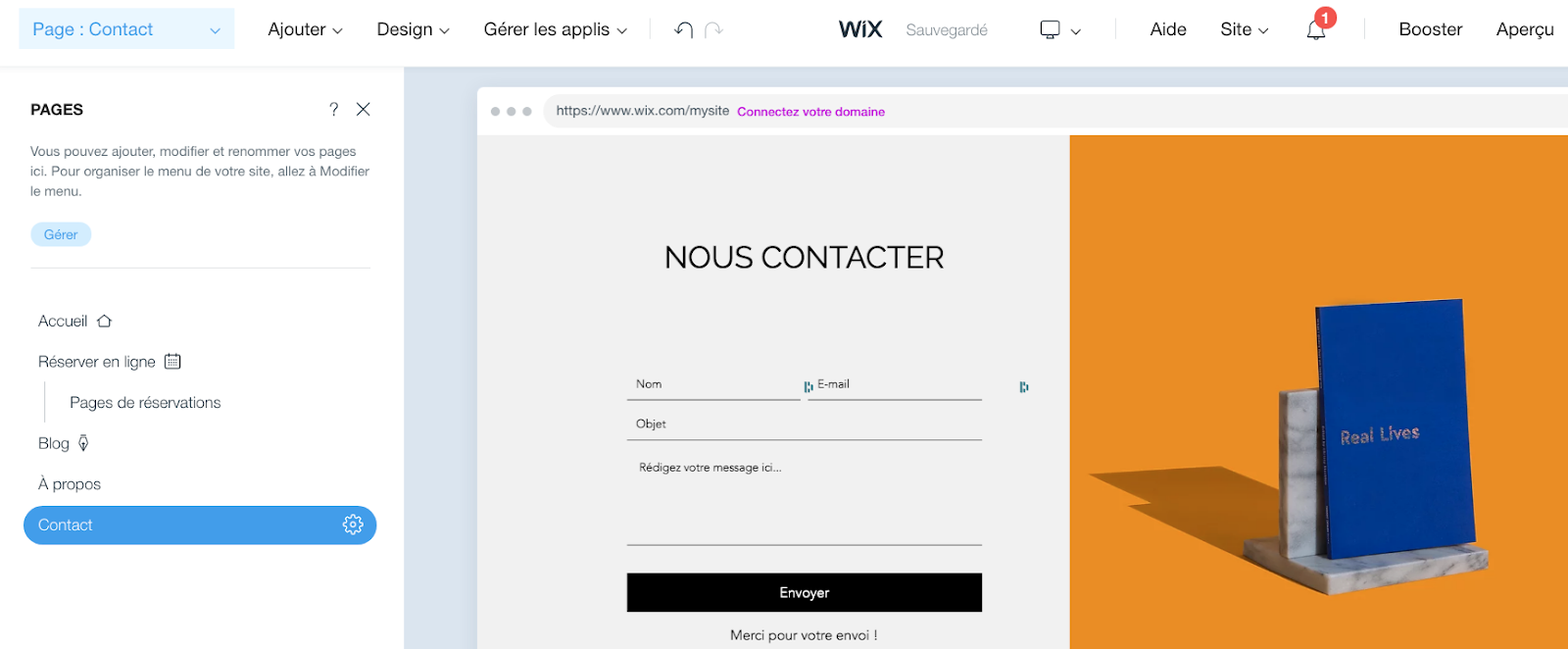 Optimiser page contact Wix