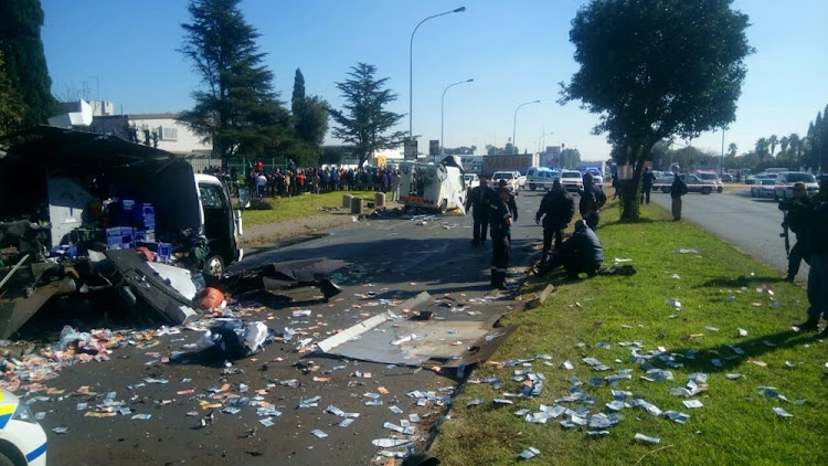 The messy crime scene on Atlas road in Boksburg where cash vans were bombed on Thursday morning.