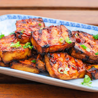 Grilled Tofu With Chipotle-Miso Sauce.